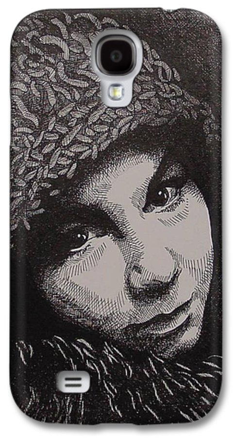 Portraiture Galaxy S4 Case featuring the drawing Rena by Denis Gloudeman