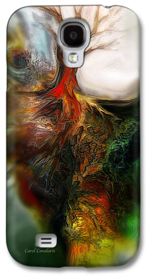 Abstract Galaxy S4 Case featuring the mixed media Roots by Carol Cavalaris