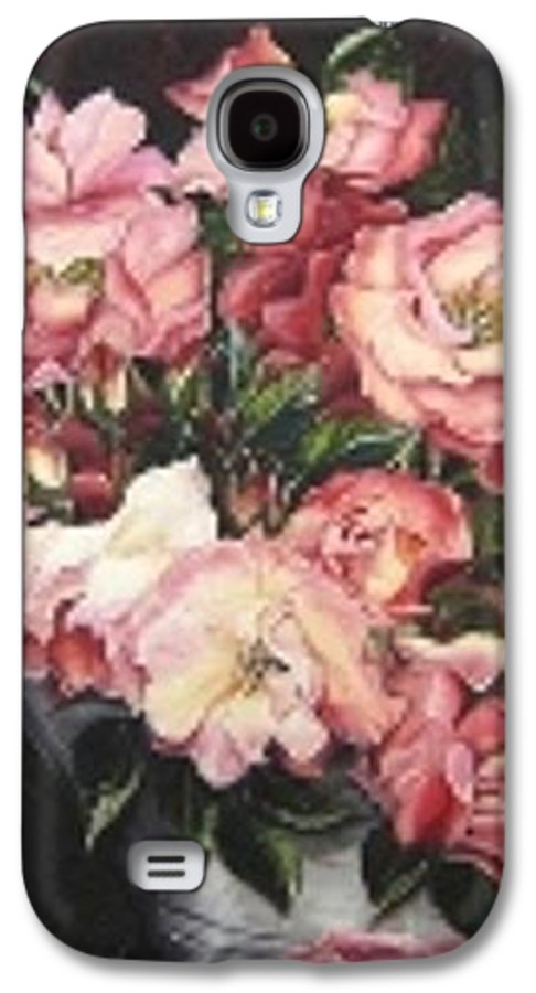 Pink Roses Floral Flowers Galaxy S4 Case featuring the painting Roses In A Watercan by Karin Dawn Kelshall- Best