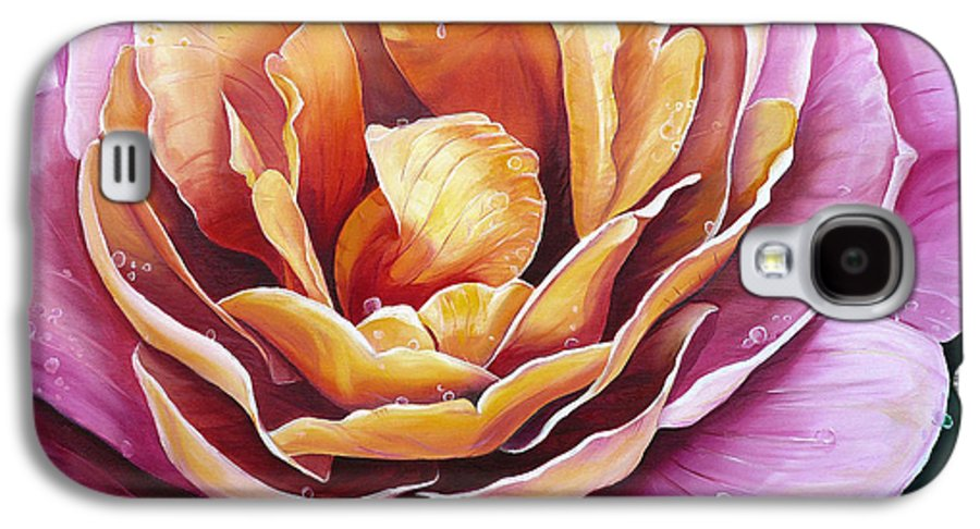 Rose Painting Pink Yellow Floral Painting Flower Bloom Botanical Painting Botanical Painting Galaxy S4 Case featuring the painting Rosy Dew by Karin Dawn Kelshall- Best