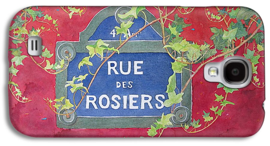 Red Wall Galaxy S4 Case featuring the painting Rue Des Rosiers In Paris by Mary Ellen Mueller Legault