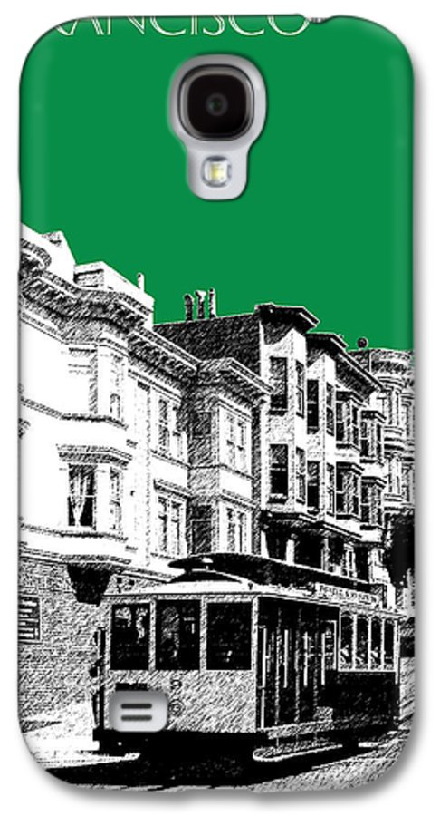 Architecture Galaxy S4 Case featuring the digital art San Francisco Skyline Cable Car 2 - Forest Green by DB Artist