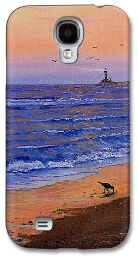 Ocean Galaxy S4 Case featuring the painting Sandpiper At Sunset by C Steele