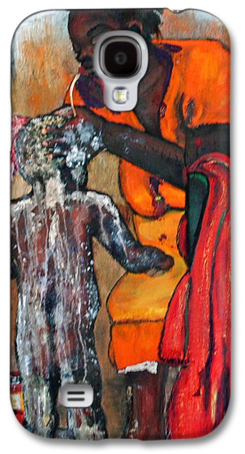 Mom Bathing Boy Galaxy S4 Case featuring the painting Saturday Night Bath by Peggy Blood