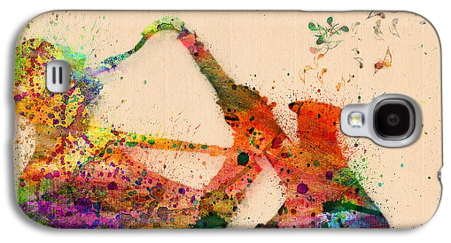 Saxophone Galaxy S4 Case featuring the painting Saxophone by Mark Ashkenazi