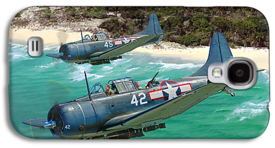 Aviation Galaxy S4 Case featuring the painting Sbd Dauntless by Mark Karvon