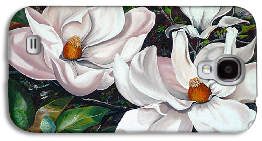 Magnolia Painting Flower Painting Botanical Painting Floral Painting Botanical Bloom Magnolia Flower White Flower Greeting Card Painting Galaxy S4 Case featuring the painting Scent Of The South. by Karin Dawn Kelshall- Best