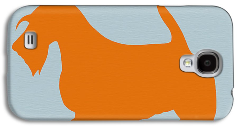 Scottish Terrier Galaxy S4 Case featuring the painting Scottish Terrier Orange by Naxart Studio