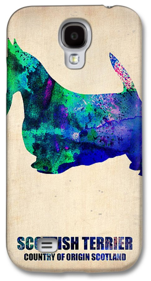 Scottish Terrier Galaxy S4 Case featuring the painting Scottish Terrier Poster by Naxart Studio