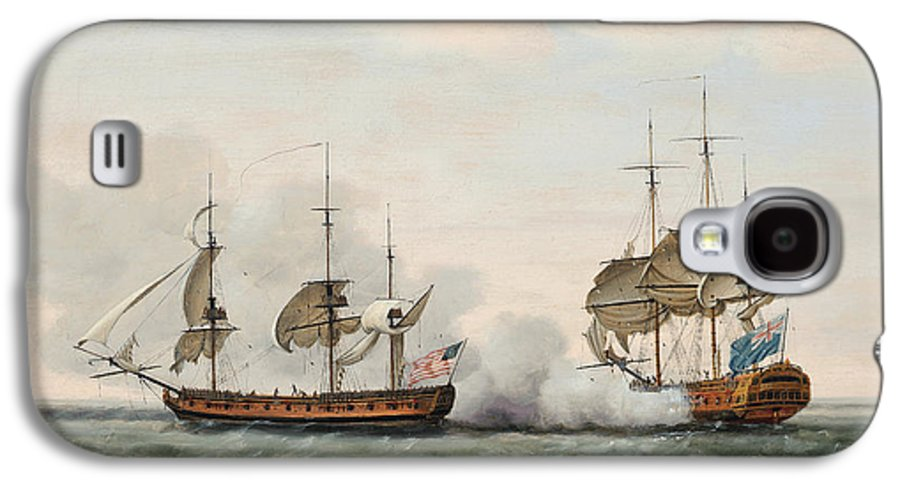 The East India Company's Ship Bridgewater Successfully Defending Her Cargo From An Attack By The American Privateer Hampden On Her Way From St. Helena To England On 8th March Galaxy S4 Case featuring the painting Sea Battle by Francis Holman