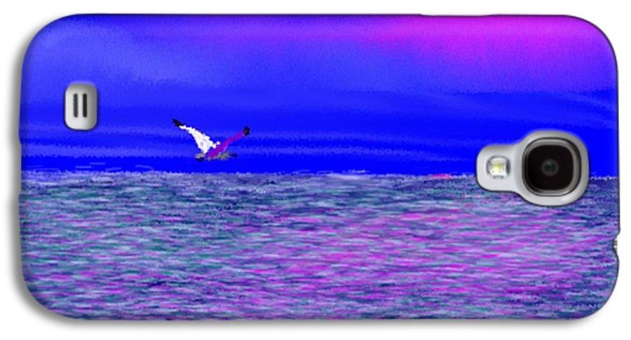 Evening.sky.clouds.sunrays.sun.sunset.sea.waves.colors.blue.pink.red.dark Blue Galaxy S4 Case featuring the digital art Sea. Last Rays Of Sun by Dr Loifer Vladimir