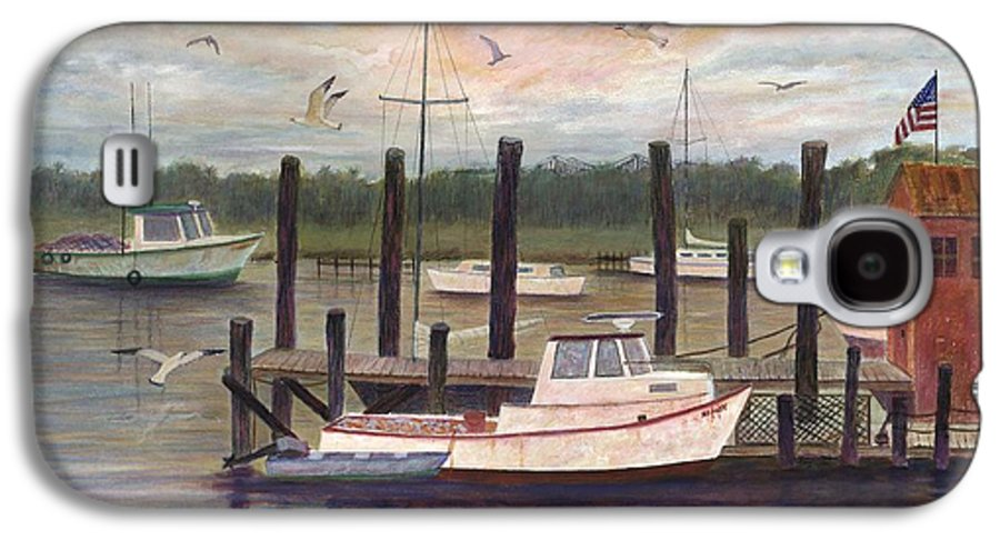 Charleston; Boats; Fishing Dock; Water Galaxy S4 Case featuring the painting Shem Creek by Ben Kiger