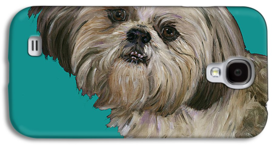 Shih Tzu Galaxy S4 Case featuring the painting Shih Tzu On Turquoise by Dale Moses