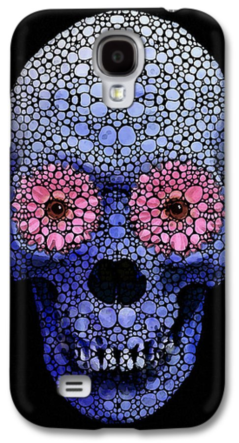 Skull Galaxy S4 Case featuring the painting Skull Art - Day Of The Dead 1 Stone Rock'd by Sharon Cummings