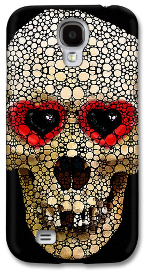 Skull Galaxy S4 Case featuring the painting Skull Art - Day Of The Dead 3 Stone Rock'd by Sharon Cummings