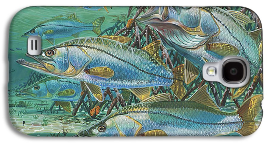 Snook Galaxy S4 Case featuring the painting Snook Attack In0014 by Carey Chen