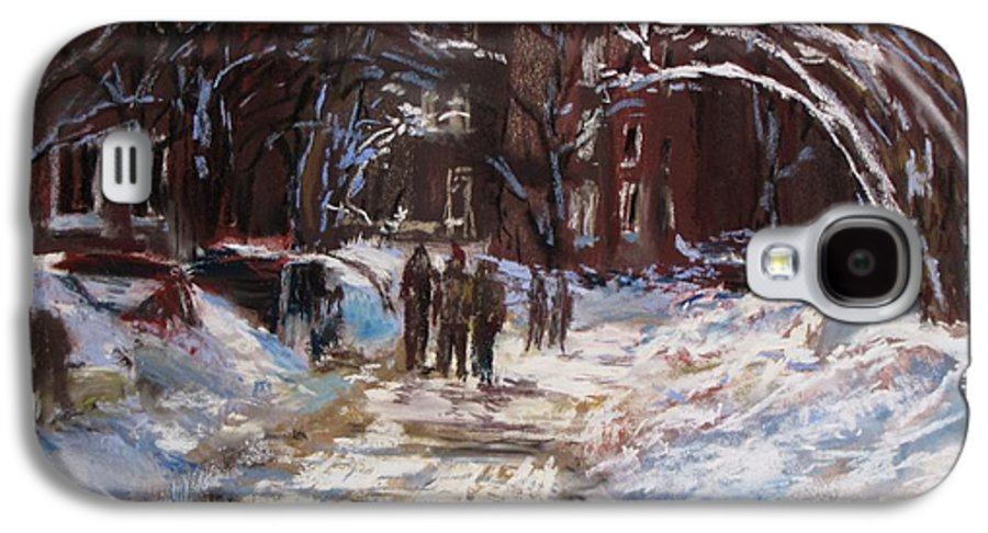 Snow Galaxy S4 Case featuring the painting Snow In The City by Jack Skinner