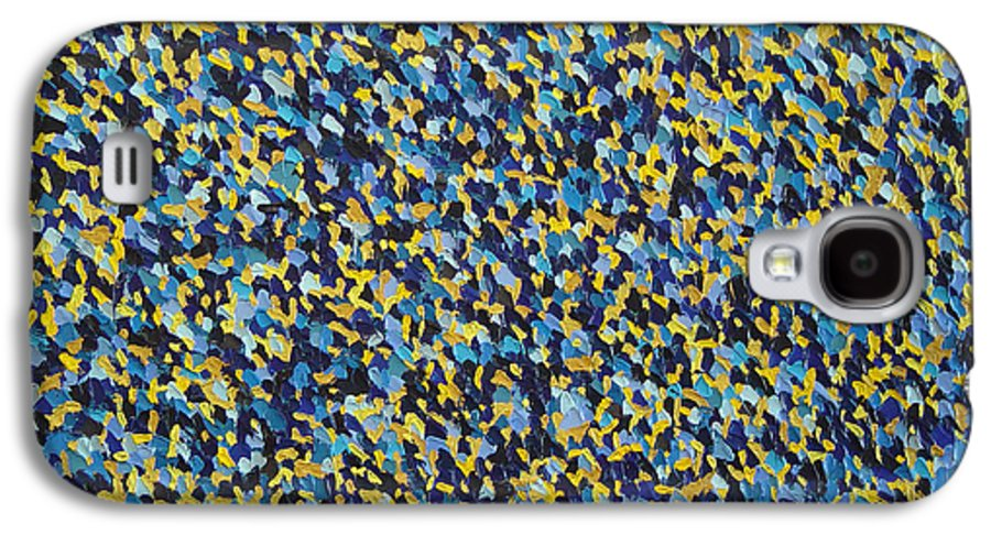 Abstract Galaxy S4 Case featuring the painting Soft Blue With Yellow by Dean Triolo
