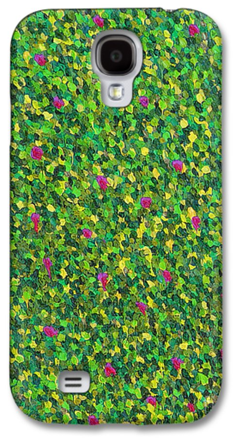 Abstract Galaxy S4 Case featuring the painting Soft Green With Pink by Dean Triolo
