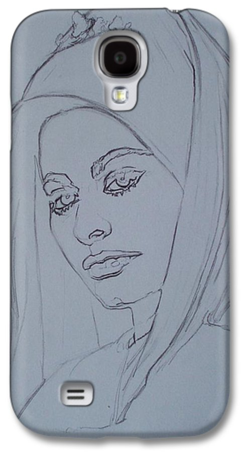Woman Galaxy S4 Case featuring the drawing Sophia Loren In Headdress by Sean Connolly