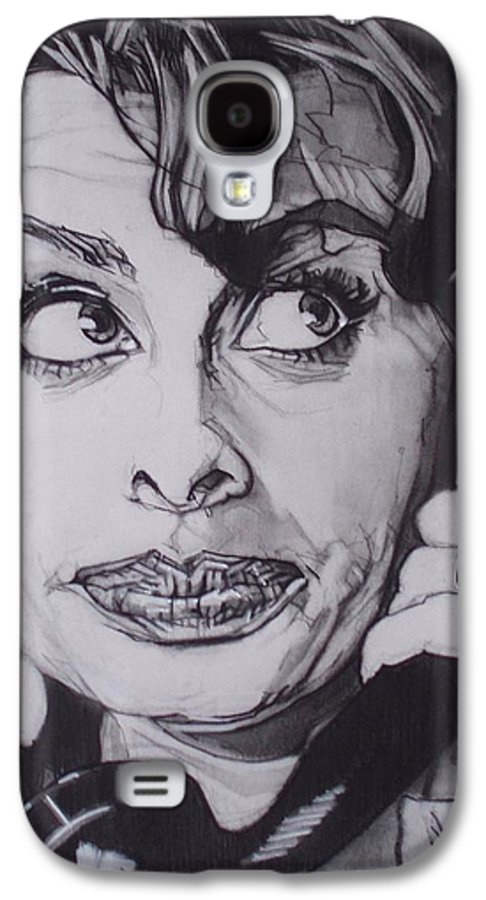 Charcoal;icon;actress;diva;italian;cat Eyes;beautiful;cute;adorable Galaxy S4 Case featuring the drawing Sophia Loren Telephones by Sean Connolly