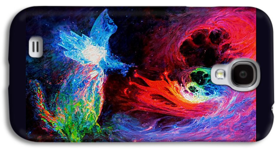 Cat Galaxy S4 Case featuring the painting Space Cat Angel - 2 by Julie Turner