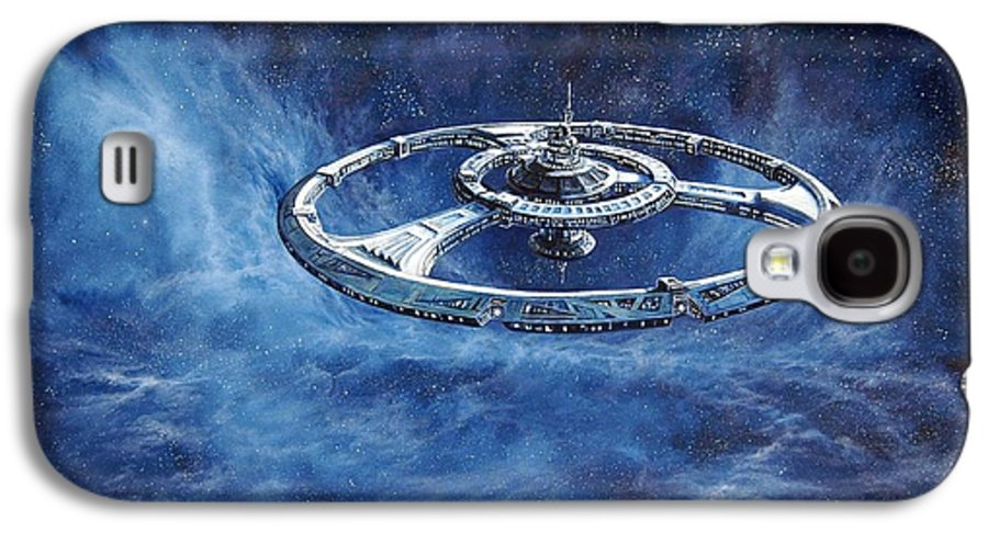 Sci-fi Galaxy S4 Case featuring the painting Deep Space Eight Station Of The Future by Murphy Elliott