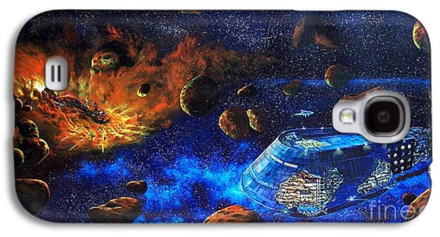 Future Galaxy S4 Case featuring the painting Spaceship Titanic by Murphy Elliott