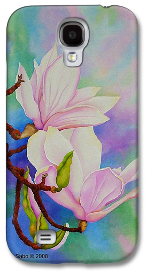 Pastels Galaxy S4 Case featuring the painting Spring Magnolia by Carol Sabo