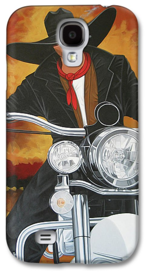 Cowboy On Motorcycle Galaxy S4 Case featuring the painting Steel Pony by Lance Headlee