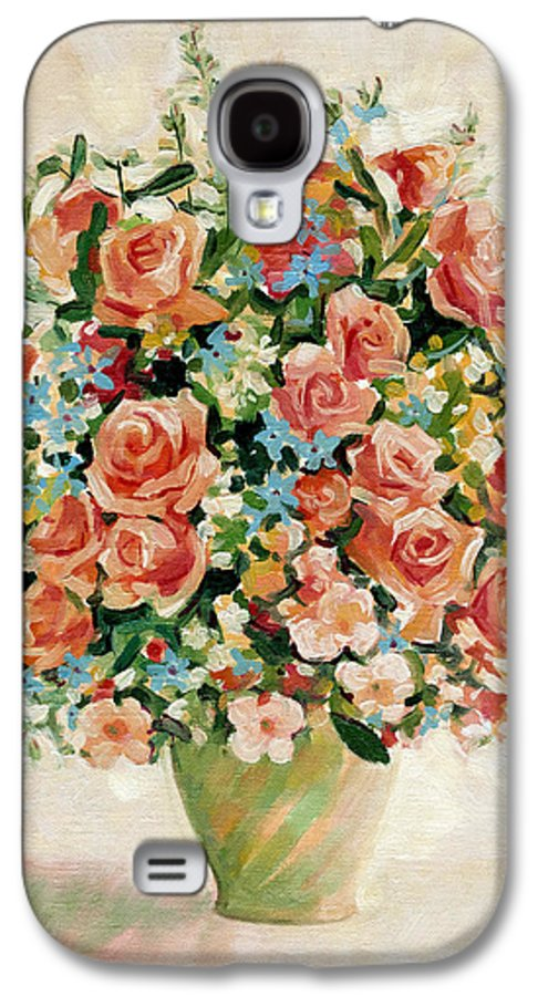 Flowers Galaxy S4 Case featuring the painting Still Life With Roses by Iliyan Bozhanov