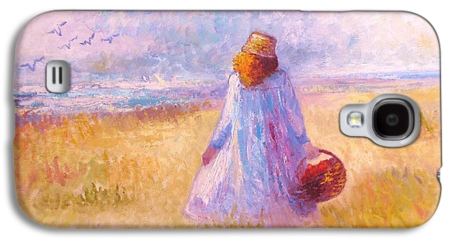 Figure; Landscape; Sky; Ocean; Outdoors; Birds; Etc Galaxy S4 Case featuring the painting Stroll By The Sea by Martha Sterling