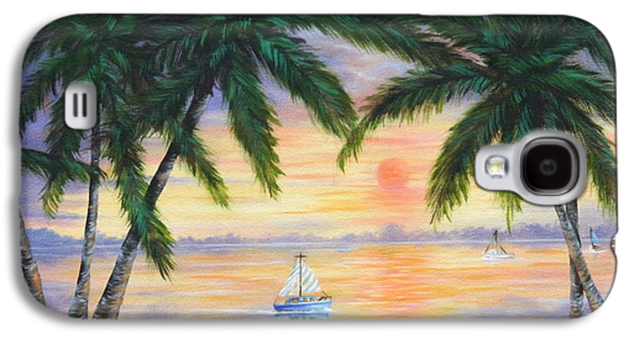 Seascape Galaxy S4 Case featuring the painting Summer Sunset by Ruth Bares