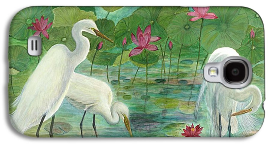 Lily Pads; Egrets; Low Country Galaxy S4 Case featuring the painting Summer Trilogy by Ben Kiger