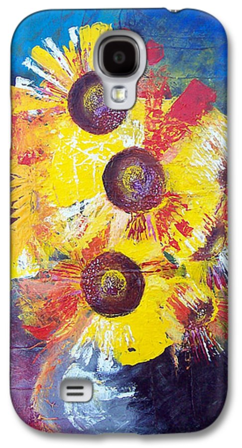 Flowers Galaxy S4 Case featuring the painting Sunflowers In Blue Vase by Valerie Wolf