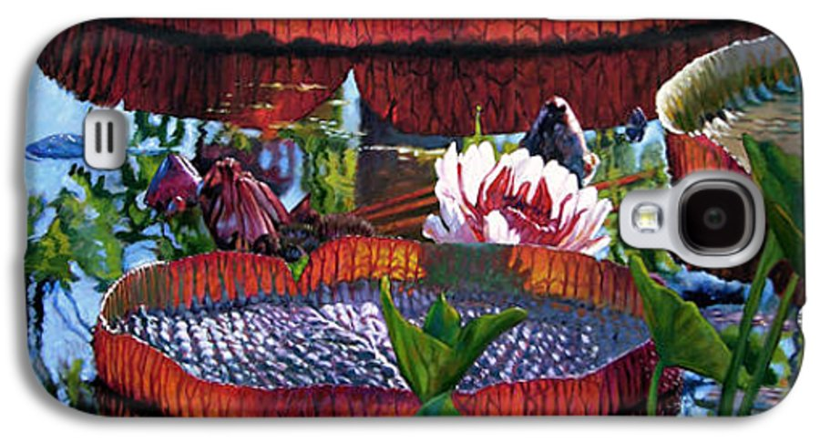 Garden Pond Galaxy S4 Case featuring the painting Sunlight Shining Through by John Lautermilch