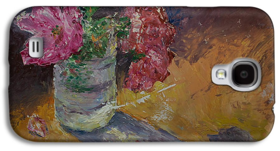 Oil Galaxy S4 Case featuring the painting Sunlit Roses by Horacio Prada