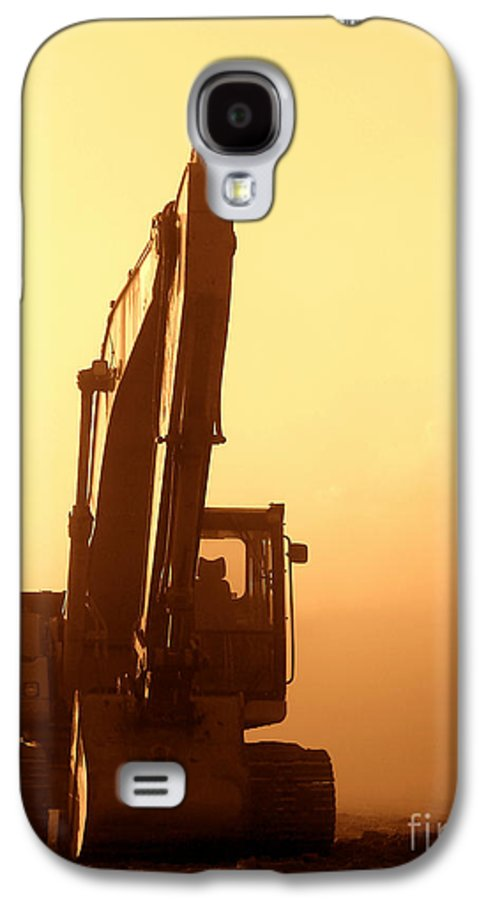 Excavator Galaxy S4 Case featuring the photograph Sunset Excavator by Olivier Le Queinec