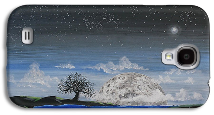 Moon Galaxy S4 Case featuring the painting Super Moon by Jim Bowers