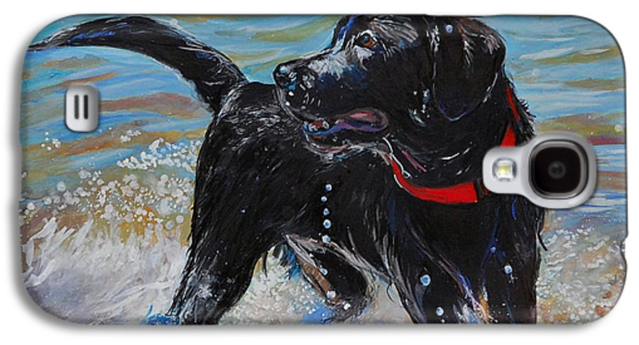 Black Labrador Retriever Puppy Galaxy S4 Case featuring the painting Surf Pup by Molly Poole