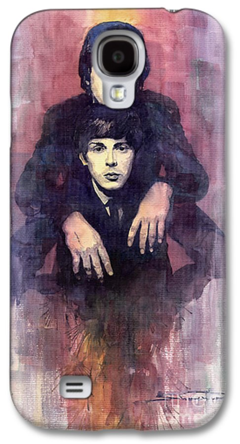 Watercolour Galaxy S4 Case featuring the painting The Beatles John Lennon And Paul Mccartney by Yuriy Shevchuk
