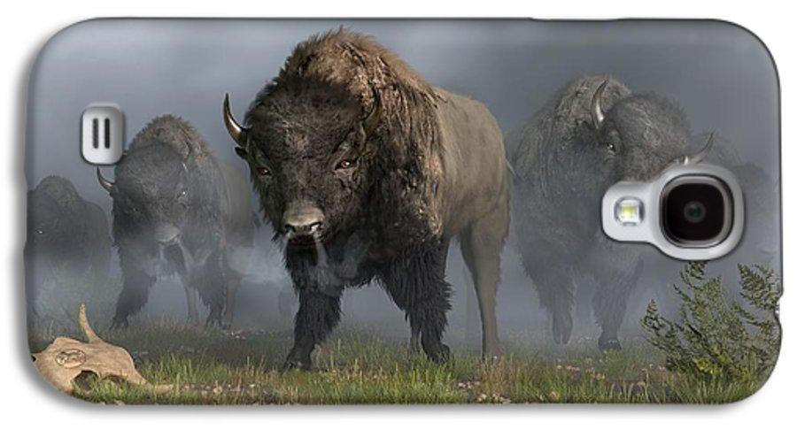 Bison Galaxy S4 Case featuring the digital art The Buffalo Vanguard by Daniel Eskridge