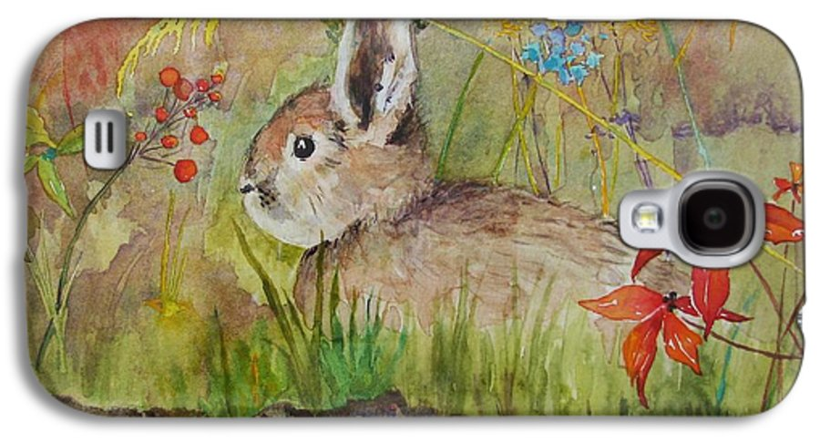 Nature Galaxy S4 Case featuring the painting The Bunny by Mary Ellen Mueller Legault