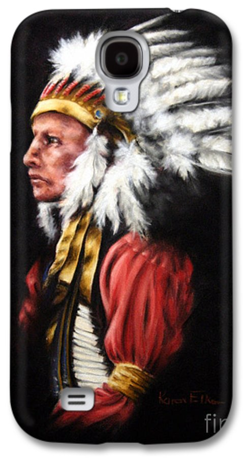 Native American Galaxy S4 Case featuring the pastel The Chief 2 by Karen Elkan