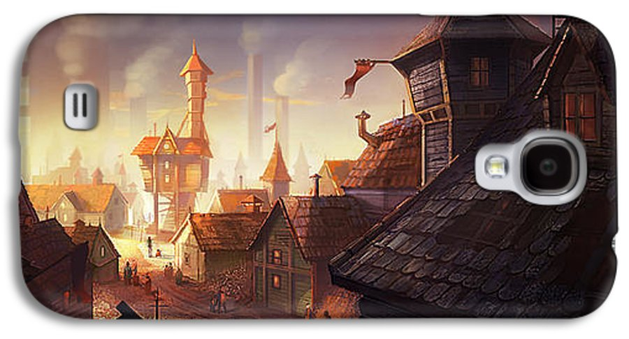 Steampunk Galaxy S4 Case featuring the digital art The City by Kristina Vardazaryan