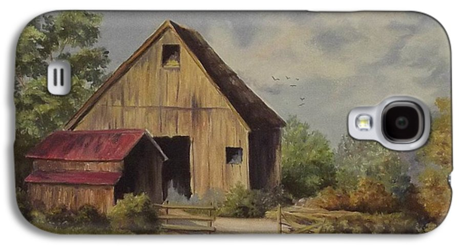 Landscape Galaxy S4 Case featuring the painting The Deserted Barn by Wanda Dansereau