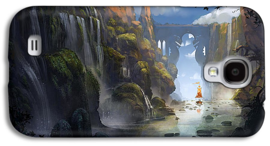 Landscape Galaxy S4 Case featuring the painting The Dragon Land by Kristina Vardazaryan