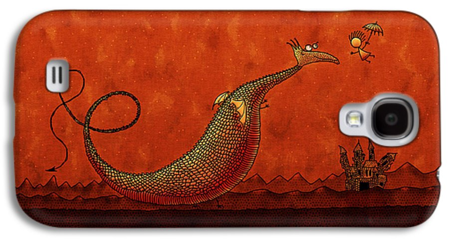 Abstract Galaxy S4 Case featuring the drawing The Friendly Dragon by Gianfranco Weiss