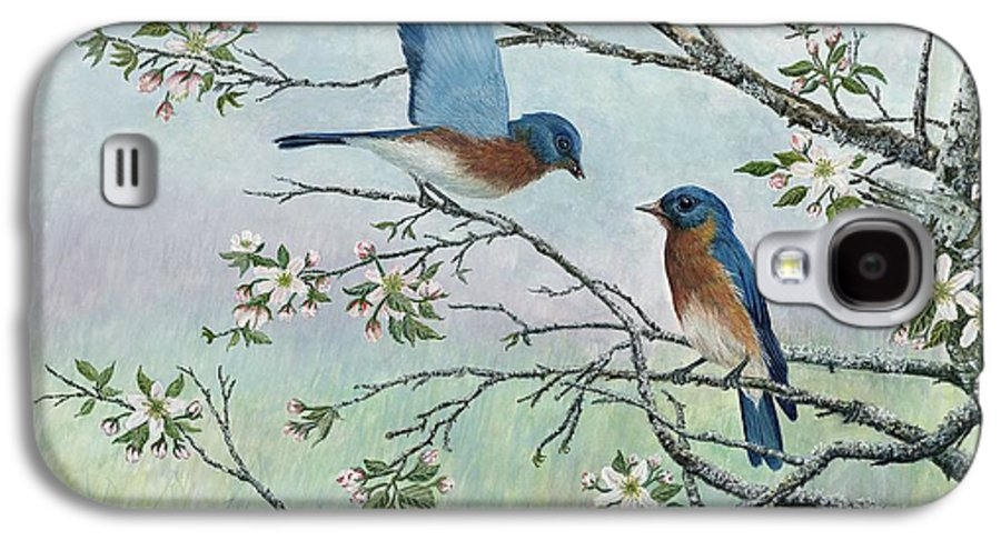 Bluebirds; Trees; Wildlife Galaxy S4 Case featuring the painting The Gift by Ben Kiger