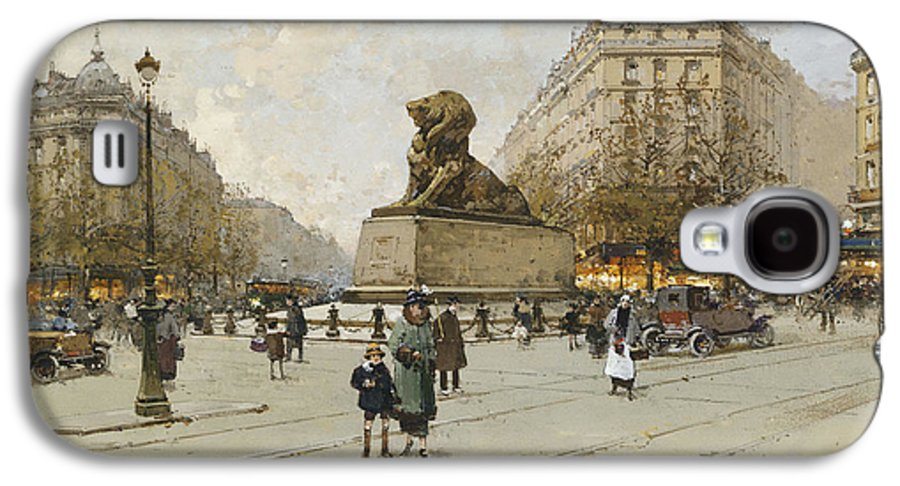 19th Century Galaxy S4 Case featuring the painting The Lion Of Belfort Le Lion De Belfort by Eugene Galien-Laloue